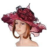 Women's Organza Hat Kentucky Derby Church Dress Bridal Tea Party Wedding Hat Sun Hat Cap(Red)
