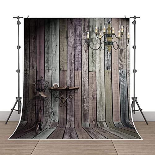 5x7ft Photography Background Vinyl Backdrop Paper Studio Props-Wood Floor Wall Pendant ()