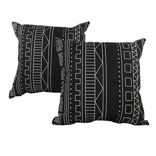 Seeking ROAM Decorative Accent Throw Pillow Covers - 18x18 in Mudcloth - Set of 2 - Black Mud Cloth Inspired Cushion Cases with Zipper - Perfect for Sofa, Couch, Bed or Desk - Minimalist Design
