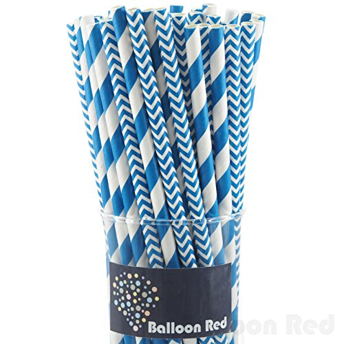 Biodegradable Paper Drinking Straws (Premium Quality), Pack of 100, Combo - Blue / Striped & Chevron (Halloween Activities For 4th And 5th Grade)
