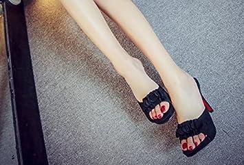 SCLOTHS Été Tongs Femme Chaussures Talon haut imperméable fleurs bien avec Givré Black 7 US/37.5 EU/4.5 UK XPks6QLAMQ