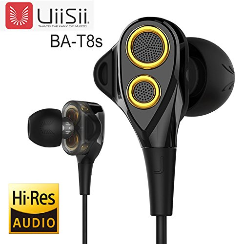 in-Ear HiFi Earphones, UiiSii T8S Triple Driver Earbuds Noise Reduction and Deep Bass with Mic Volume Control for Smartphones (Black)
