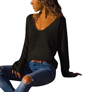 top-rated latest diversified in packaging luxury aesthetic Womens Loose Cable Knit Jumper V Neck Sweater Tops Teen ...