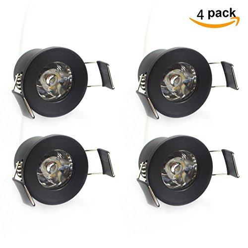 1.5w Led Spread Light - LEDIARY 1.5 W Black LED Downlight,100 Lumens 100-240V Ceiling Lights, Beam Spread 30,3000K (Soft White) Pack of 4