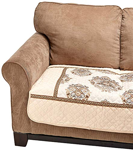 OctoRose  Ofit Chenille Quilted Sectional Deep Seats Sofa Slipcover Pad Furniture Protector Sold by Piece Rather Than Set (Beige, 35x35)