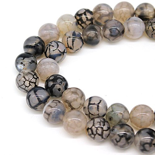 Black Dragon Vein Agate Loose Beads for Jewelry Making Handmade Crafts (6mm, Black Dragon Vein Agate)