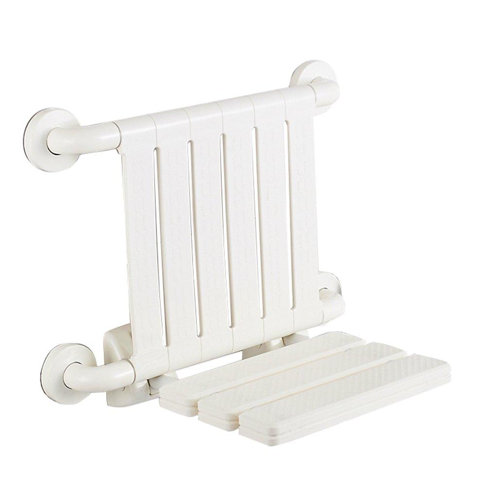シャワーチェア折りたたみチェアバスルームスツールウォールチェアバススツールシャワースツールスツールバック付き (色 : 白) B07DFPD313  白