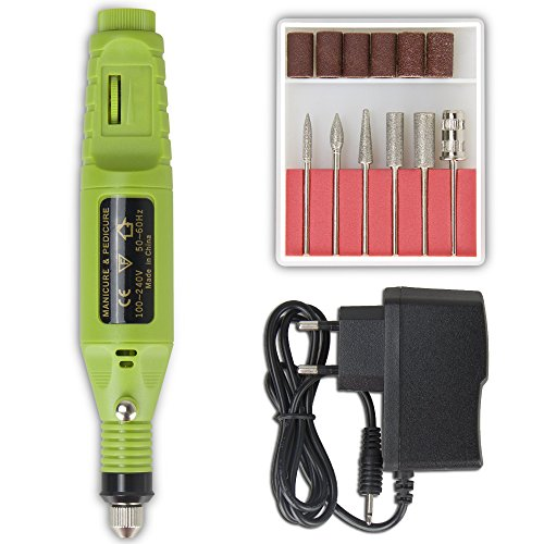 Professional Electric Manicure Machine Nail Drill art Pedicure File Polish Pen Shape Acrylics Tool Finger Toe Care Product with Multi Sanding Bits and Power Adapter (Green)