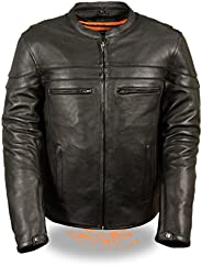Milwaukee Leather Men's Sporty Scooter Crossover Leather Jacket (Black, Med