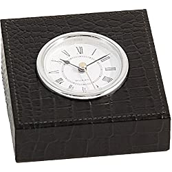 Bey-Berk D1517 Black Croco Leather Quartz Clock with Silver Plated Accents,