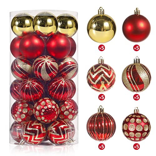 Decoration for Christmas Tree Christmas Balls Ornaments, Christmas Tree Decoration Balls 30 PCS 60mm for Xmas Tree Winter Party Home Decor - Red