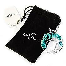 Jewelry The Tree Life Pendant Blue Amethyst Crystal Gemstone Chakra Necklace Women & Girls Jewelry