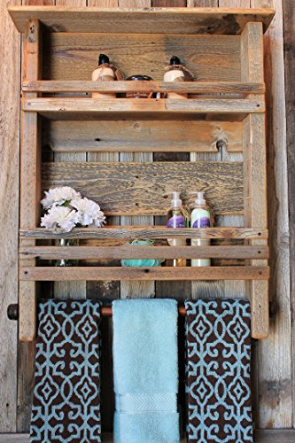 Rundown Rustics 2 Shelf Bathroom Organizer Display Storage Cubby Rack Décor Rustic Reclaimed Recycled Upcycled Pallet Barn Wood Industrial Metal Towel Bar Wall Mount by Rundown Rustics