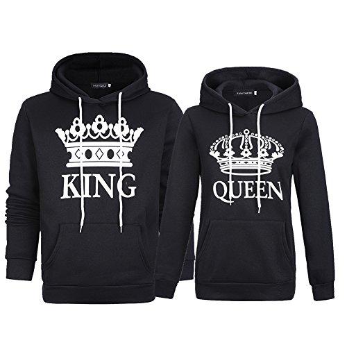 Bangerdei Matching Couple Pullover Sweatshirt King and Queen Hoodies For Couples Black Women XL + Men L