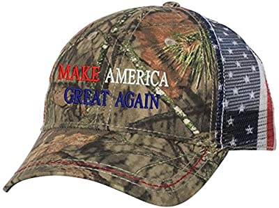 Peerless Embroidery Company Make America Great Again Snapback American Flag Mesh Red/Wht from Peerless Embroidery Company