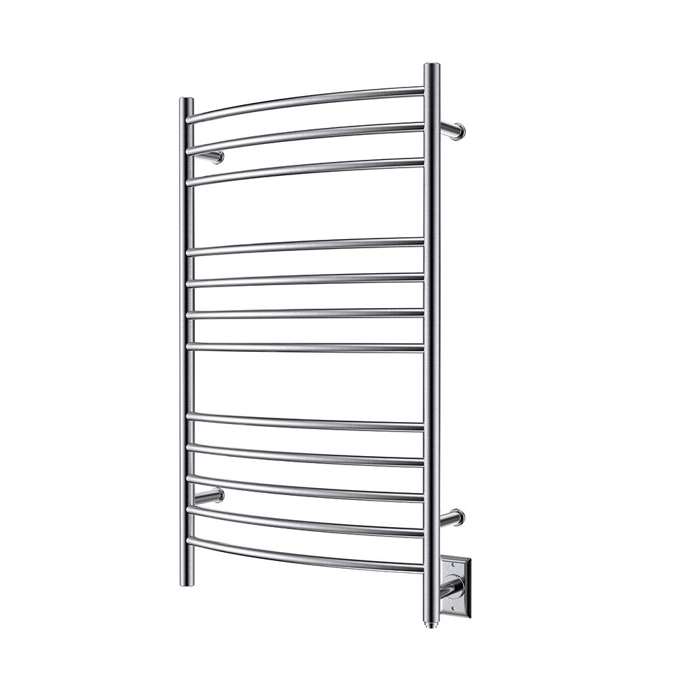 HEATGENE Towel Warmer Wall Mount Electric Plug-in/Hardwired Heated Towel Rack Brush Finish
