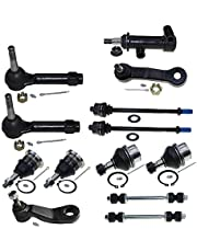 DLZ 13 Pcs Front Suspension Kit-Ball Joint Tie Rod End Sway Bar Pitman Arm (Grooves) Idler Arm Bracket 1 Idler Arm Compatible with Chevrolet Silverado