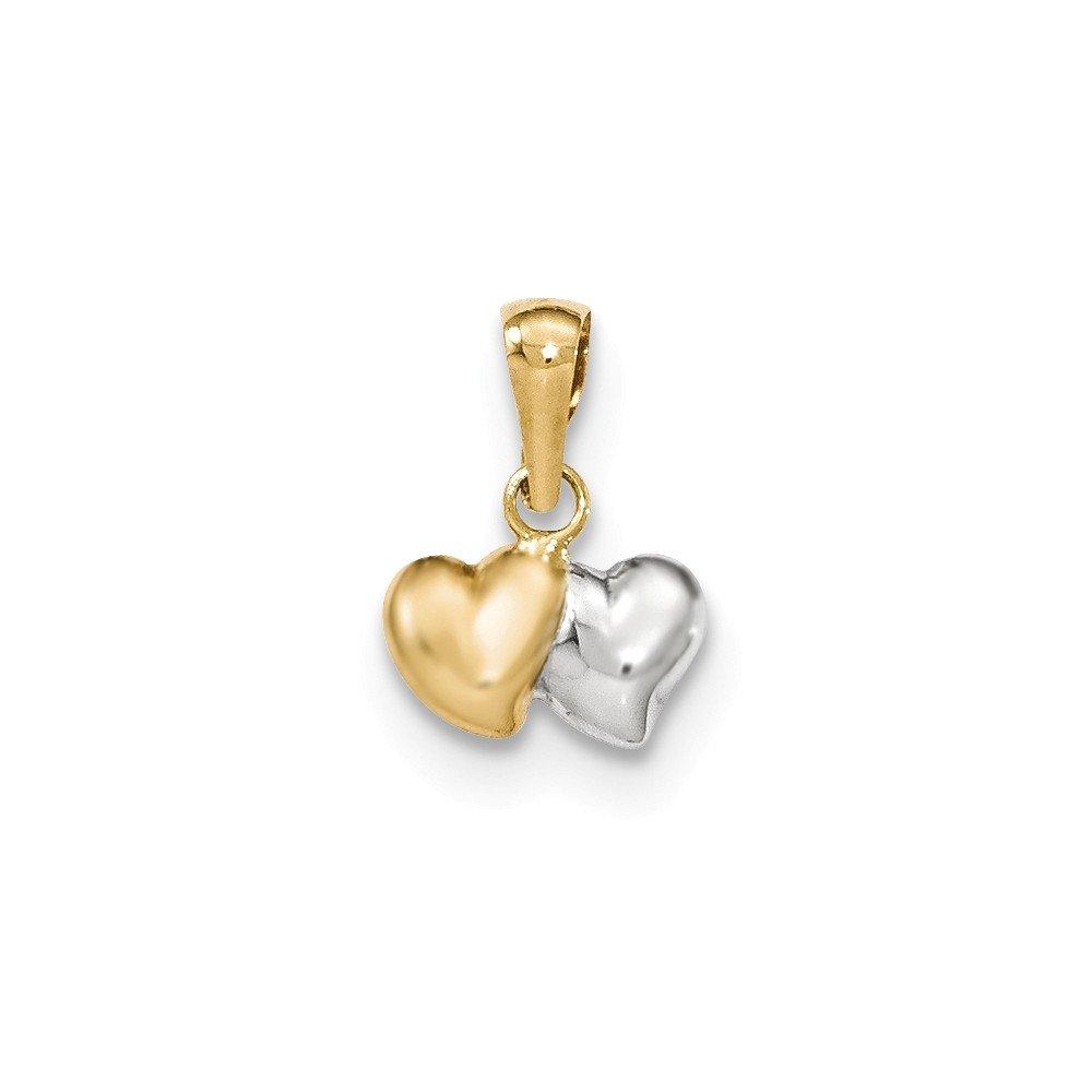 Mia Diamonds 14K Yellow Gold and Rhodium-Plating Polished Two Heart Pendant