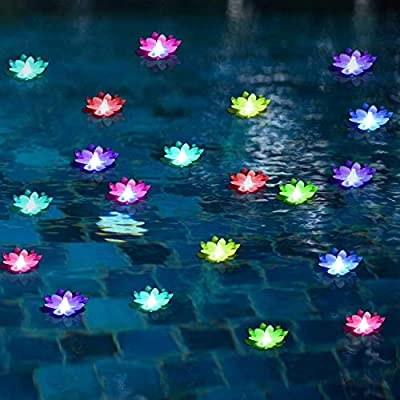 LOGUIDE LED Lotus Light Waterproof Firefly Trendy Hip Unique Color-Changing Flower Night Lamp Garden House Lights for Pool Party Fancy Ideal Novel Creative Gift Christmas 6 Pcs
