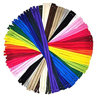 Nylon Zippers for Sewing, 5 Inch 100 PCs Bulk Zipper Supplies in 20 Assorted Colors; by Mandala Crafts