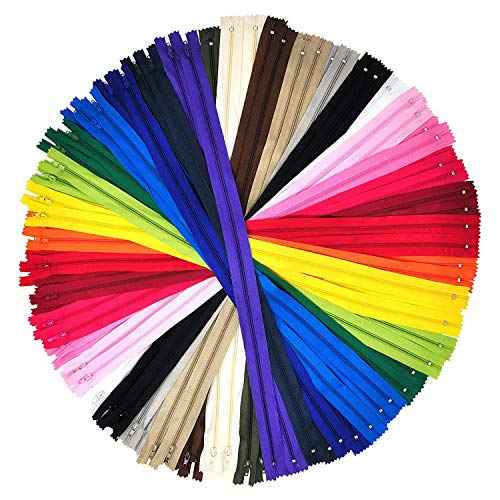 Mandala Crafts Colored Nylon Coil Zipper for Sewing, Handbag, Purse Making, Clothing, Wholesale Pack (10 Inches 100 Count, 20 Assorted Colors) -