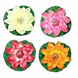 NAVAdeal 4 Count Large Artificial Floating Lotus Flowers Lily Pad Ornaments, 4 color-Pink Ivory Orange Crimson , Perfect For Home Garden Koi Pond Pool Aquarium and Wedding Decoration