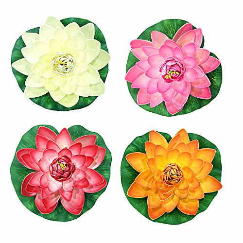 (NAVAdeal 4PCS Artificial Floating Foam Lotus Flowers, Realistic Water Lily Pads, Vibrant Color Pink Ivory Orange Crimson, Perfect for Home Garden Patio Pond Aquarium Swimming Pool Wedding Party Decor)