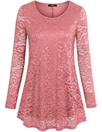 Womens Sheer Long Sleeve Blouse Scoop Neck A Line Floral Lace Casual Tunic Shirts