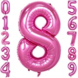 40 Inch Pink Large Number Balloons Mylar Foil Big Number 8 Giant Helium Balloon Birthday Party Decoration