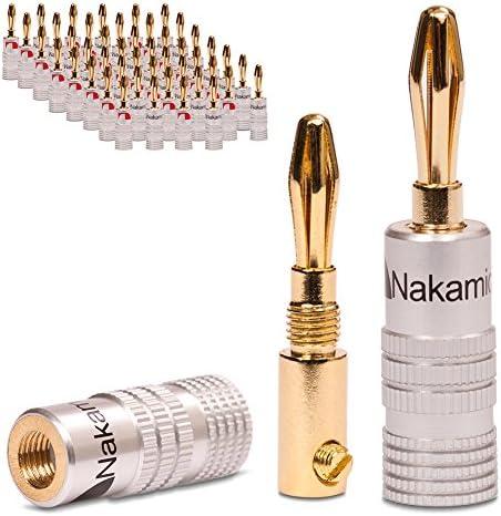 2x Nakamichi Bananenstecker vergoldet High End Bananas für Kabel bis 6mm² 24K