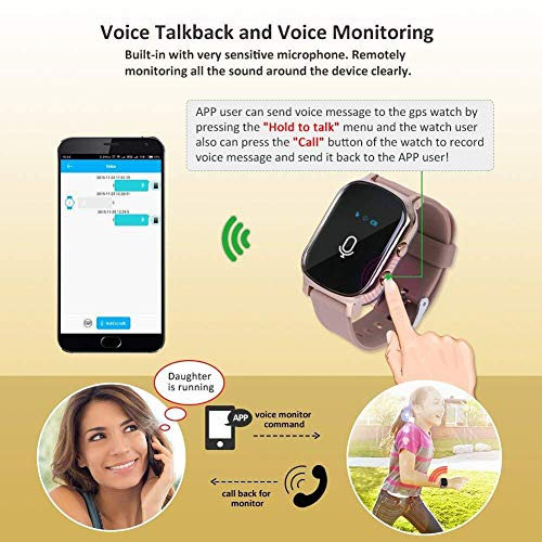 Hangang GPS Tracker For Kids Children Smart Watch Kids Wrist Watch T58 Anti-lost SOS Call Location Finder Remote Monitor Pedometer Functions Parent Control iPhone Android Smartphones APP (gold)(T58G) by Hangang (Image #2)
