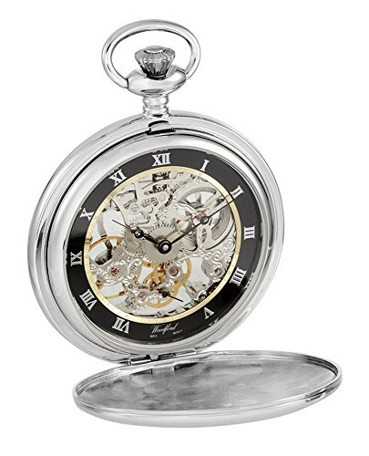 (Woodford Mens Full Size Movement Albert Pocket Watch - Silver)