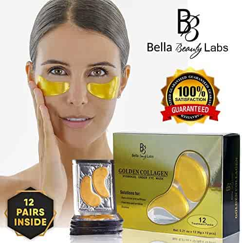 Under Eye Collagen Patches - Best Eye Treatment 24K Gold Collagens Mask - Anti-aging and Anti Wrinkle Effect - Reduces Puffiness and Dark Circles