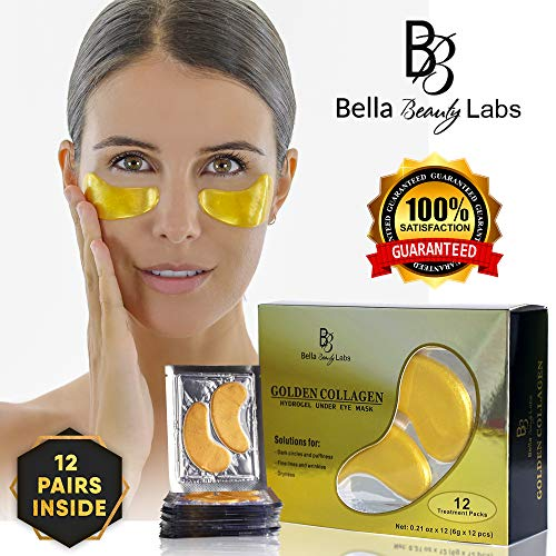 Golden Mask - Under Eye Collagen Patches - Best Eye Treatment 24K Gold Collagens Mask - Anti-aging and Anti Wrinkle Effect - Reduces Puffiness and Dark Circles