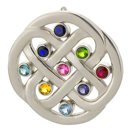 Grandmothers or Mothers Family Celtic Love Knot Birthstone Pendant in Solid Sterling Silver ()