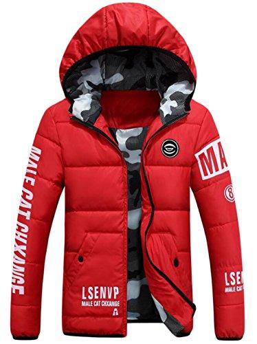 EKU Men's Athletic Warm Coat Winter Hooded Down Jackets Red US L