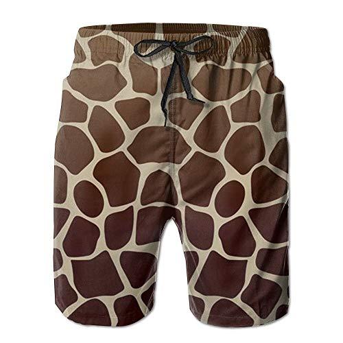 ZGXJJPP Men's Dark Giraffe Print Boardshorts Beach Shorts White ()