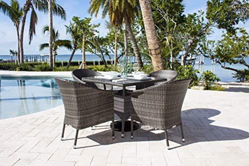 - Hospitality Rattan 890-1130-GRY-7DA-CUSH/SU-715 Ultra 7 PC Woven Armchair Dining Set with Cushions, Sunbrella Dolce Oasis