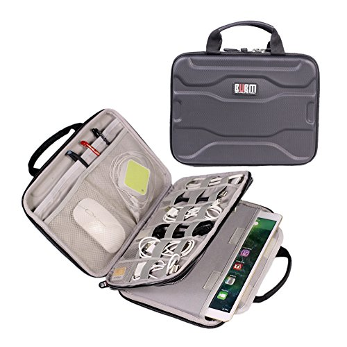 Electronics Organizer Travel Cable Cord Bag Accessories Gadget Gear Storage EVA Hard Cases for 10.5 Inch Tablet Large (Black)