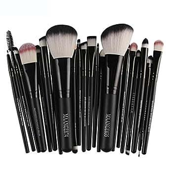 Han Shi Brushes, Fashion 22pcs Cosmetic Makeup Brush Set Lip Blusher Eye Shadow Brushes Kit (M, Black)