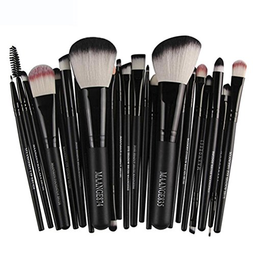 Han Shi Brushes, Fashion 22pcs Cosmetic Makeup Brush Set Lip Blusher Eye Shadow Brushes Kit (M, Black)