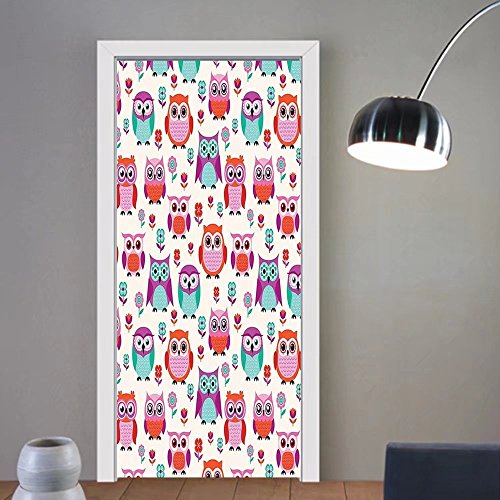 Gzhihine custom made 3d door stickers Owls Home Decor Owls Happy Childhood Hipster Modern Style Repeated Animals Pattern llustration Decor For Room Decor 30x79 by Gzhihine
