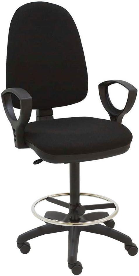 Centrosilla Taburete Giratorio Oficina ergonómico Torino, con reposabrazos, Respaldo Regulable en Altura y Profundidad, aro reposapiés Cromado Regulable, con Ruedas - (Negro)