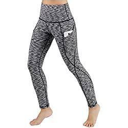 ODODOS High Waist Out Pocket Yoga Pants Tummy Control Workout Running 4 Way Stretch Yoga Leggings,SpaceDyeBlack,Large