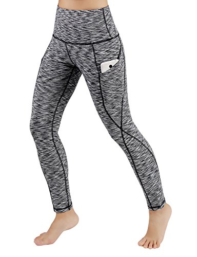 - ODODOS High Waist Out Pocket Yoga Pants Tummy Control Workout Running 4 Way Stretch Yoga Leggings,SpaceDyeBlack,Medium