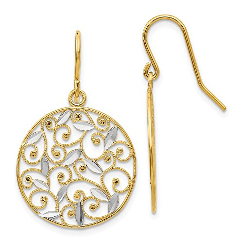 Solid 14k Yellow and White Gold Two Tone Diamond-Cut Filigree Circle Wire Earrings (18mm x 32mm)