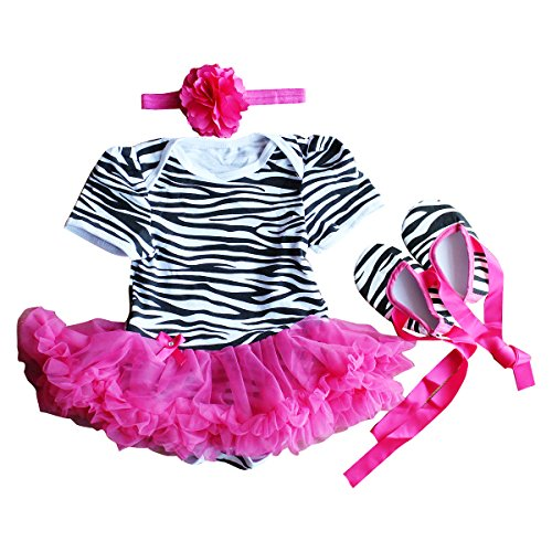 Baby Girls Cotton Bodysuit Dress Outfits Clothes (3-6 Months, Hot pink (Zebra Tutu With Headband)