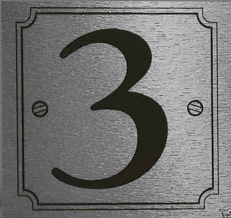 Number 3 eCobbler Silver Stick On Door Numbers 0 To 9