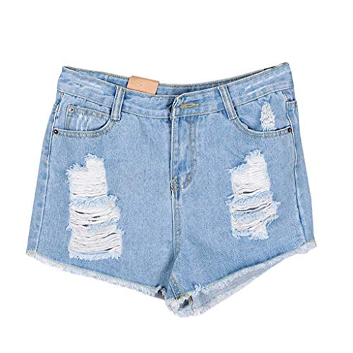 Yunisu Women's Shorts Casual Destroyed Hole Denim Mid Waisted Pants Washed Jeans Trousers Light Blue 0/2