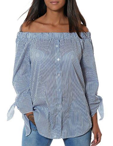 Damen Casual Hemd Trachten-Bluse Top Oberteil Gestreift Schulterfrei (weitere Farben) No 14104, Farbe:Navy;Größe:One Size